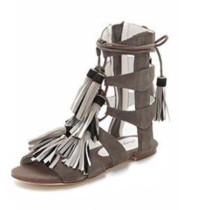 JEFFREY CAMPBELL Gladiator Sandals Tassels Suede